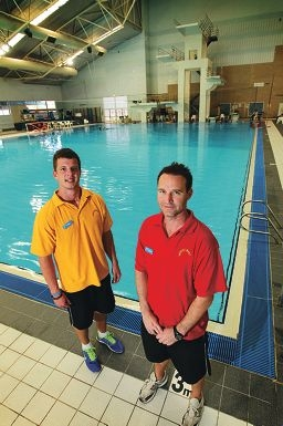 Lifeguards Chris Hardie and Corey Hollow helped to save a man from drowning at the dive pool. Picture: Andrew Ritchie d412722
