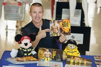 Firefighter Carl Grigg is Mr April in the 2014 PMH Fireman Calendar.| Picture: Emma Reeves www.communitypix.com.au d412748