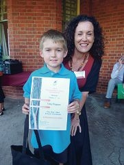 Toby Pogson (Year 3) and Jane Fraser from Fremantle Press.