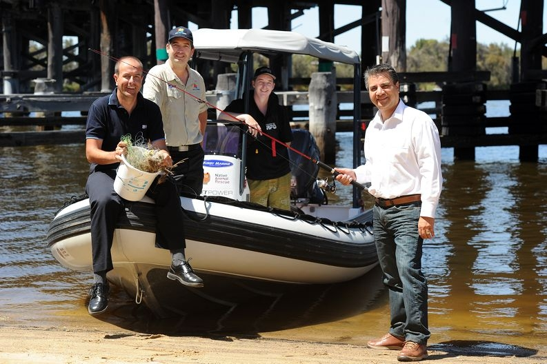 City of Bayswater Mayor Sylvan Albert (right) with, from left, Swan River Trust's Chris Mather, RecFishWest's Leyland Campbell and Native Animal Rescue's Sam Loughridge [NAMES OK]