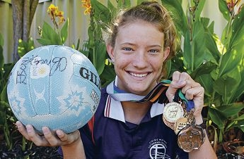 Brooke Poad with her swag of medals. Picture: Elle Borgward www.communitypix.com.au d412622
