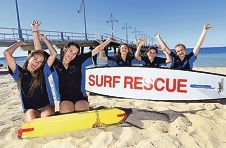 Young lifesavers Courtney Stables, Amber Stevenson,