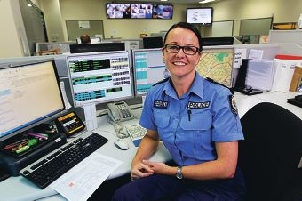 Sergeant Kate Collins at work in the new district control centre in Cannington. Picture: Marcelo Palacios www.communitypix.com.au d412321