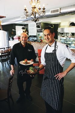 Owner Spartaco Rotella and head chef Brett Benjamin at Chapter 88. Picture: Andrew Ritchie d412335
