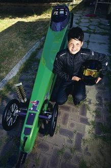Brayden Naylor after winning the Australian National Junior Dragster series. Picture: Emma Reevesd410848