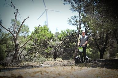 Owen Williams on one of the Segways to be used on Rottnest Island tours.