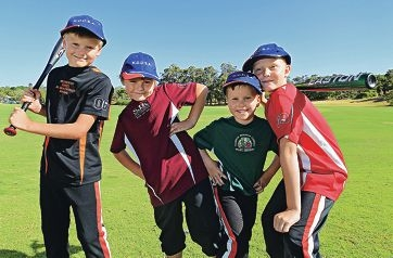 Young tee-ballers Liam Gibbens, Koby Collins, Joshua Burgess and Kade Hamersley.