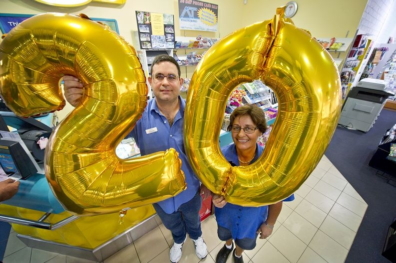 Raphael and Delnaz Roussilhes run Mullaloo Newsagency. They will be celebrating 20 years of being in the business. Picture: Emma Reeves d411858