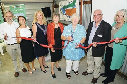 Among the guests at the opening were Andy Gulliver of C-Wise, catchment council chief executive Jane O'Malley, Mandurah Mayor Marina Vergone, catchment council chairman Jan Star, former mayor Paddi Creevey, Gary Trinder from Lotterywest and catchment council secretary Marilyn Grey. Picture: Roz D'Raine