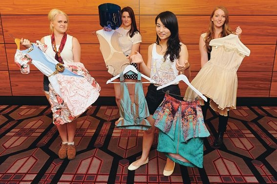 A great moment for fashion students, from the left, Charissa Schlink, Chanelle Gibbs, Susan Tran and Monica Blaauw. Picture: Marcus Whisson www.communitypix.com.au d412025