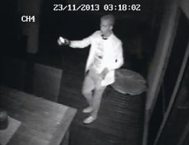 The family's newly-installed CCTV security system caught the burglar as he went through their house.