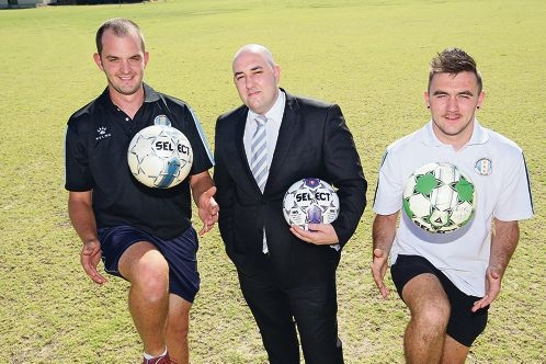 Ellenbrook United F.C. President Fonz Tenaglia (centre) with players Josh Howie and Craig Allan. Picture: Bruce Hunt d412063