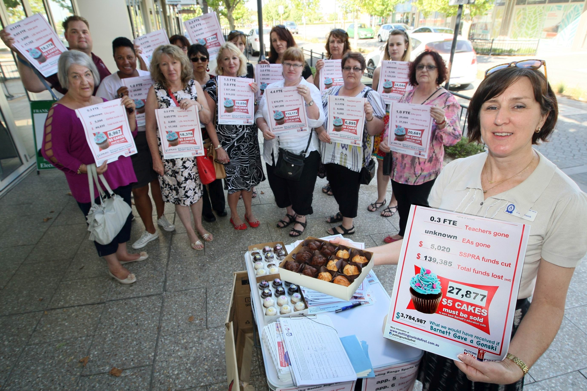 State School Teachers Union organiser Cathy Smith and supporters at the cake stall. Picture: Bruce Hunt d412085