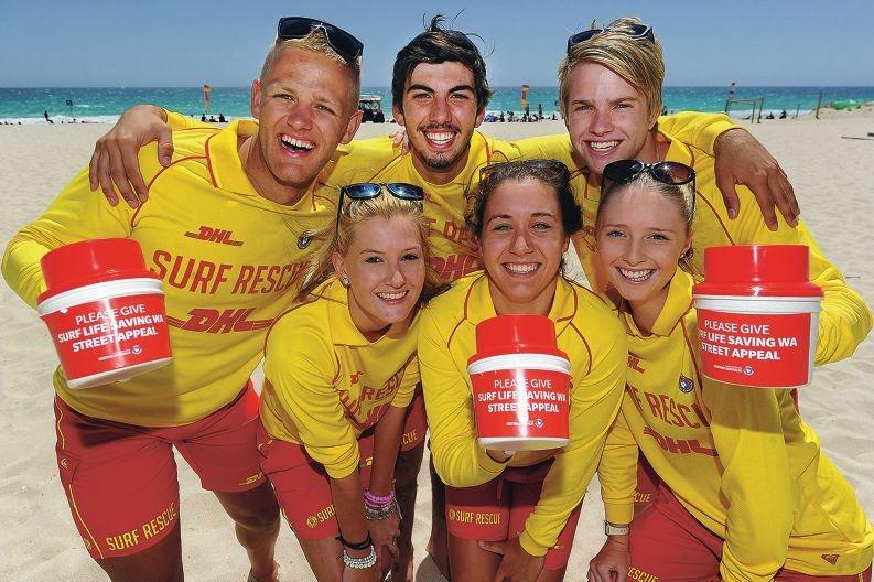 Surf lifesavers (from left) Josh Drummond, Keta Lemmon, Jack Irwin, Tayla Tenaglia, Robbie Payne and Grace Flint. Picture: Marcus Whisson www.communitypix.com.au d412051
