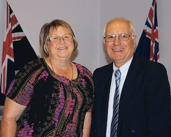 Honorary Freeman nominee Pat Elliot with Shire of Gingin President Michael Aspinall.