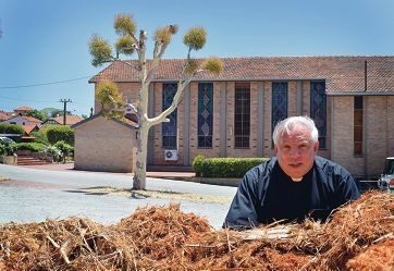 Father Tim Deeter stands behind one of the large piles of mulch he says was dumped by a tree lopper in the grounds of St Paul's Church in Menora.