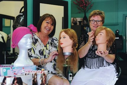Claudia Schnuriger and Jenny Della-Vedova have opened a wig styling and headwear salon for people who suffer hair loss through cancer treatment. Picture: Marcus Whisson d411860