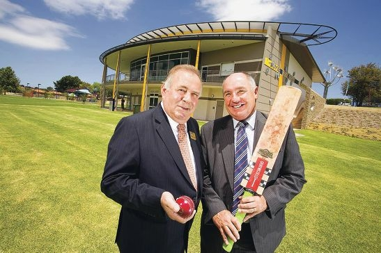 Stirling Mayor Giovanni Italiano and Sport and Recreation Minister Terry Waldron in front of the upgraded Grenville Reserve sports and community facilities. Picture: Murray Armenti
