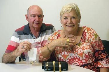 Ian and Lynne Starr with some of their recovered jewellery stolen from their home on Melbourne Cup Day. Picture: Emma Reeves d411680