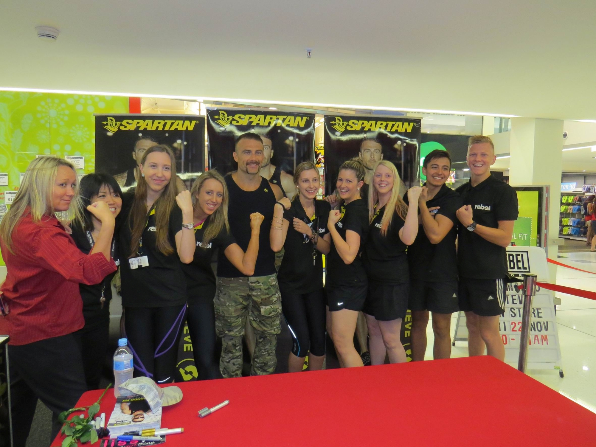 The Rebel Sport Joondalup team with 'the Commando'.