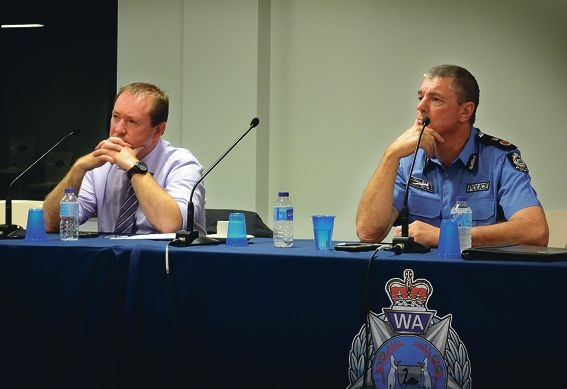 Corrective Services Minister Joe Francis and WA Police Commissioner Karl O'Callaghan at the forum. Picture: Sarah Motherwell
