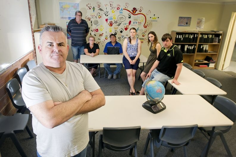 OK Youth Services boss Michael Parker with staff from the boys' campus in Wangara. Picture: Emma Reeves d411781