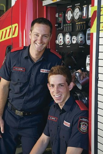 Kyle Ajduk and Brandon White, two of WA's latest career firefighters, are now based in the Bassendean station.