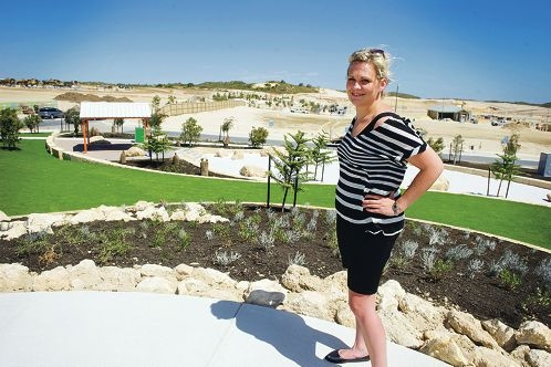 Alkimos land buyer Sally Donaldson recently visited the first park to be built in the Alkimos Beach estate. Picture: Emma Reeves www.communitypix.com.au d411338