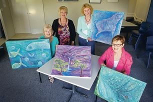 Artists Helen Stainthorpe, Annette Dawson and Sandy McCormick, with teacher Barbara Fraser, show off some of their artwork. Picture: Emma Reeves www.communitypix.com.au d411164