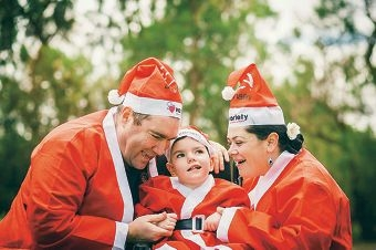 Brett and Melinda Stokes and their daughter Mikayla are joining in the Variety WA Santa Fun Run to help give back to the charity that has helped them with Mikayla's needs.