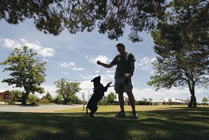 Atwell resident Bill Westhoff with his dog Soloman. Picture: Martin Kennealey www.communitypix.com.au d411558