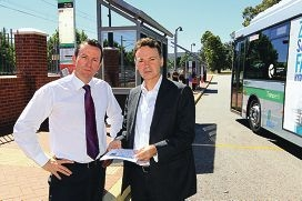 Opposition Leader Mark McGowan and Gosnells MLA Chris Tallentire at Gosnells bus depot. Picture: Marcelo Palacios d412300