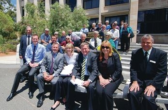 Avon Valley residents, local MPs and Shire representatives on the steps of Parliament House.
