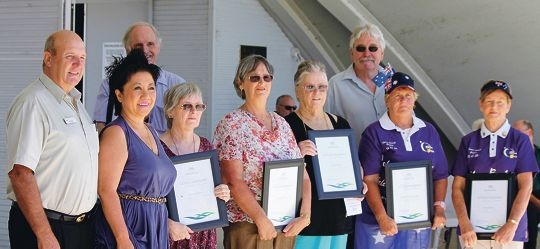 Shire of Northam's deputy president Councillor Terry Little, Australia Day Ambassador Patti Chong and the 2013 winners.