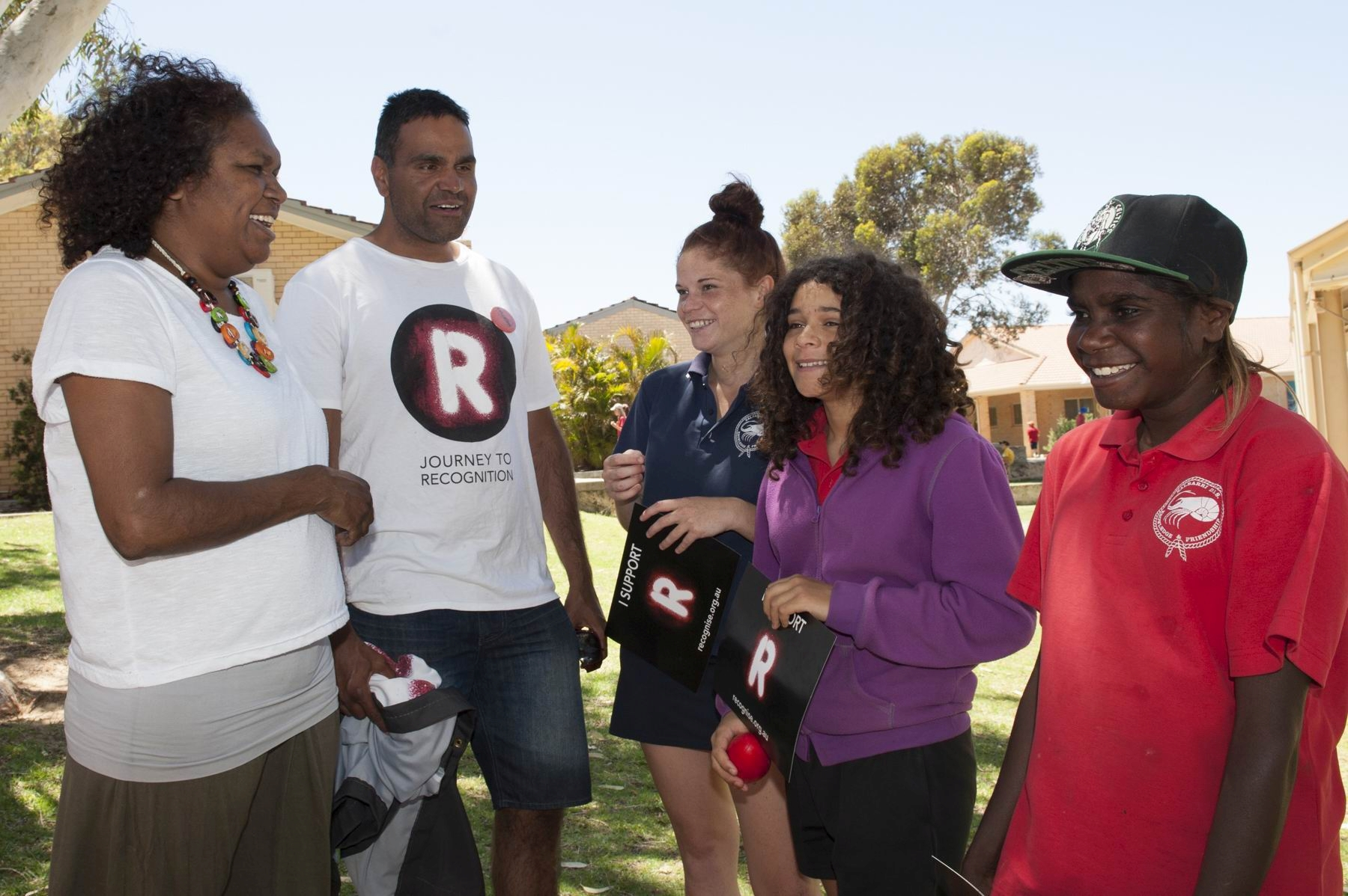 Ningali Lawford Wolf, Dale Agius and students Teahl Taylor, Santana Taylor and Emily Lawford were part of the Journey to Recognition.