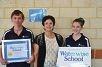 Right: Head Boy Toby Adam, Waterwise schools co-ordinator Connie Pintaudi and Head Girl Elissia Maxwell.