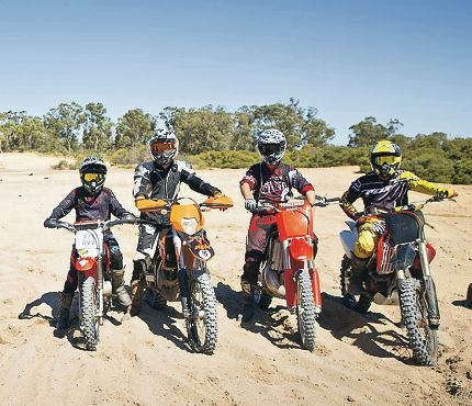 Law-abiding local trail-bike riders Alison Pretzel, Darren Robertson, Sam Usher and Reece Garlett would appreciate an upgrade to off-road vehicle areas.