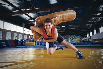 Olympic ambitions: promising wrestler Karina Durko (15). Picture: Andrew Ritchie d410270