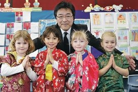 Japanese Consulate General support staff member Nebu Fukumoto with Poppy Savage, Mitio Mackie, Nina Golden and Rose Bustleman.|Picture: Martin Kennealey www.communitypix.com.au d407613