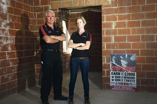 Joe Phelan and Nicola Weaver, of Meridian Services, are driving a campaign against building-site crime Picture: Emma Reeves www.communitypix.com.au d410874