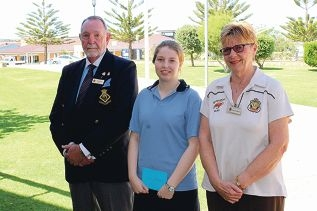 Quinns Rocks RSL sub-branch president Frank Baldry and treasurer Rosemary Baldry with Mindarie Senior College student Robyn Streczynski.