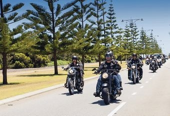 The Military Brotherhood Military Motorcycle Club on a ride. Inset: Quinns Rocks RSL president Frank Baldry talks to Military Bortherhood president Shane Kempton. Pictures: Michelle Shoosmith