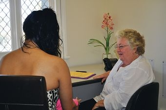 Victoria Park Youth Accommodation manager Marilyn Crispin interviews a young mum in need of crisis accommodation.