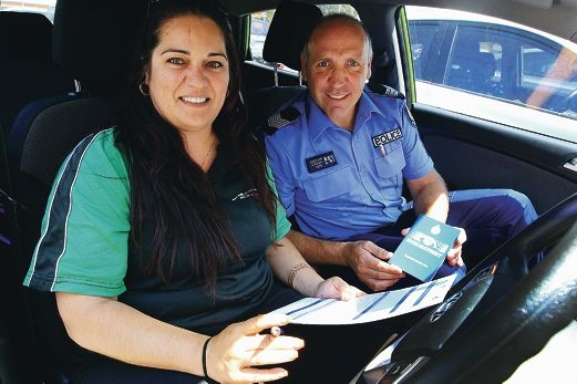 Driving instructor Norelle Butcher and Sergeant Warren Ameduri are involved in the Eyes on the Street program. Picture: Marcelo Palacios www.communitypix.com.au d410439