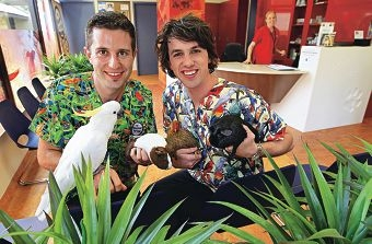 Dr Peter Ricci and Dr James Haberfield run a new service catering for exotic and unusual pets. Picture: Elle Borgward www.communitypix.com.au d411375