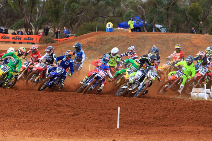 The MX1 class heading into the first turn in round four on Sunday. There's more action like this coming on the weekend.