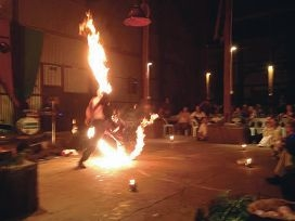 A fire show at the York Medieval Fayre and Banquet.
