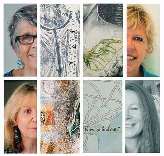 Four artists collaborated for Pencil, Print and Prose (clockwise from top left), Lesley Le Grove, Hettie Rowley, Jane Ziemons and Val Shaw.