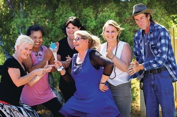 AtWork Australia's employer liaison officer Gail Kegie, support worker Paremata Harana, employee Anne-Marie Jones, Armadale Home Help chief executive Cheryl Samborski, At Work Australia manager Julie Steer and gardener Michael Rossiter celebrate the win. Picture: Marcelo Palacios www.communitypix.com.au d411209