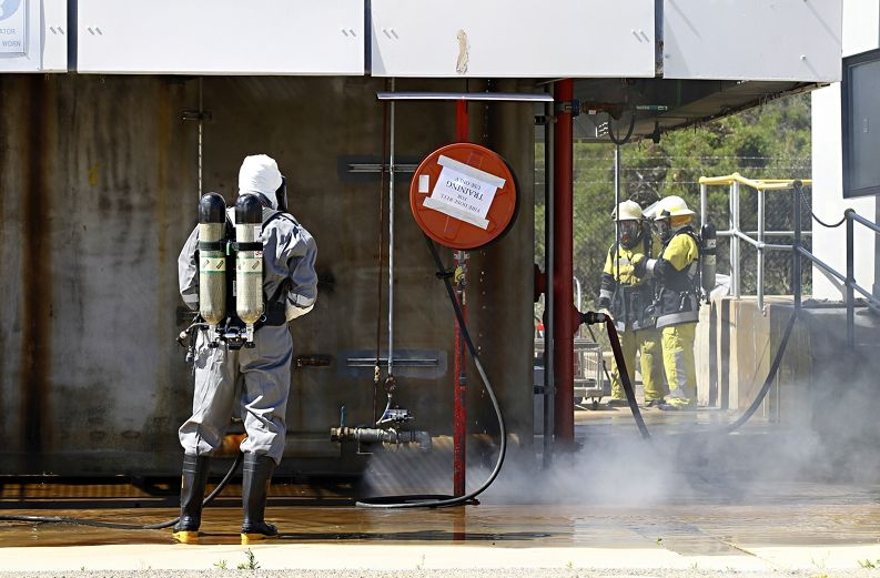 Much of the survival course centres on fire-fighting procedures. Picture: Elle Borgward d412312